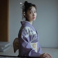 2019 SELLWORLDER Japanese Kimono Style yukata retro Girl dress Plum blossom Woman purple Long Dress