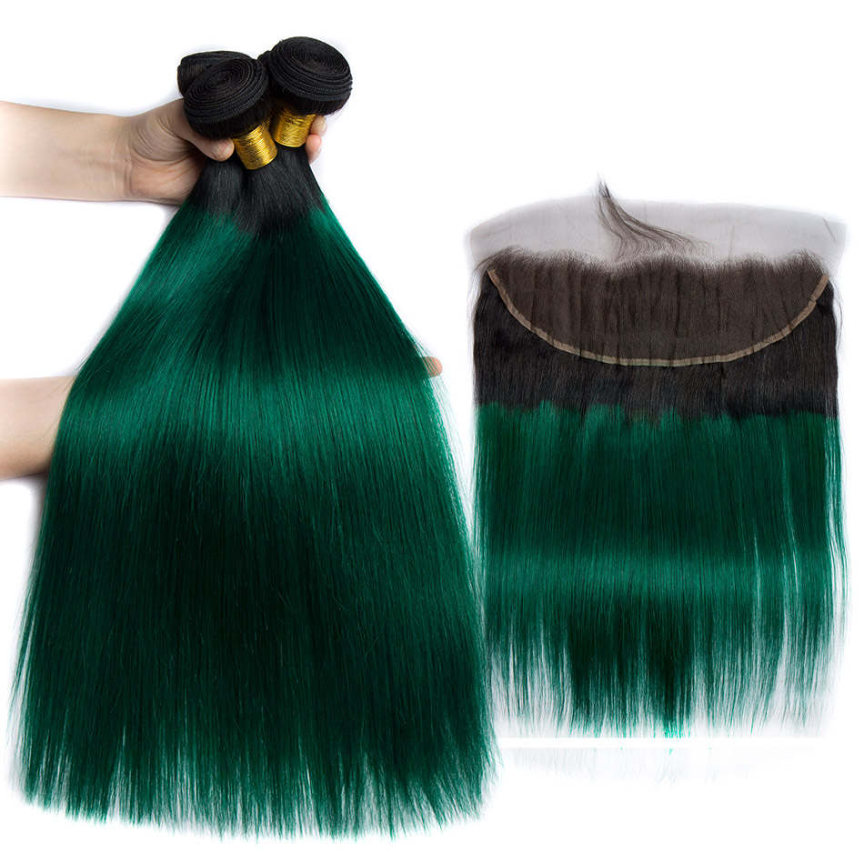 ALIBELE 1B Green Ombre Bundles with Frontal Closure 2 Tone Remy Straight Human Hair Pre Plucked