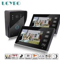 7 Wireless video intercom wifi vide door phone 2 monitor doorbell camera recording doorphone intercoms system for private house