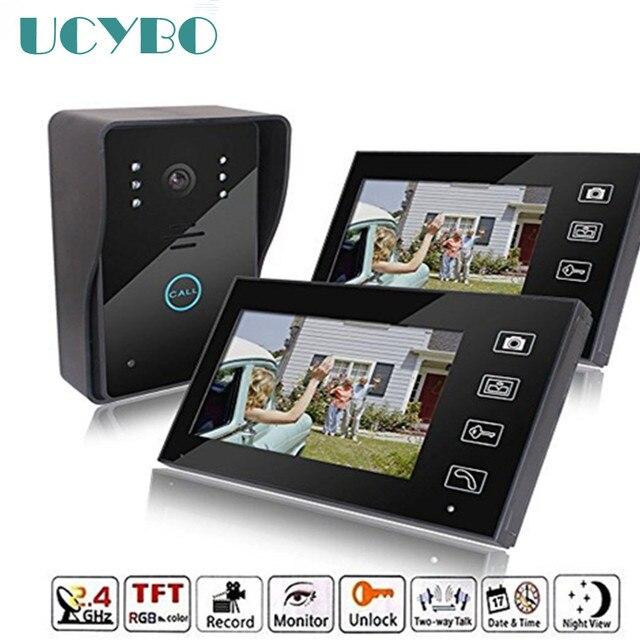 "7"" Wireless video intercom wifi vide door phone 2 monitor doorbell camera recording doorphone intercoms system for private house"
