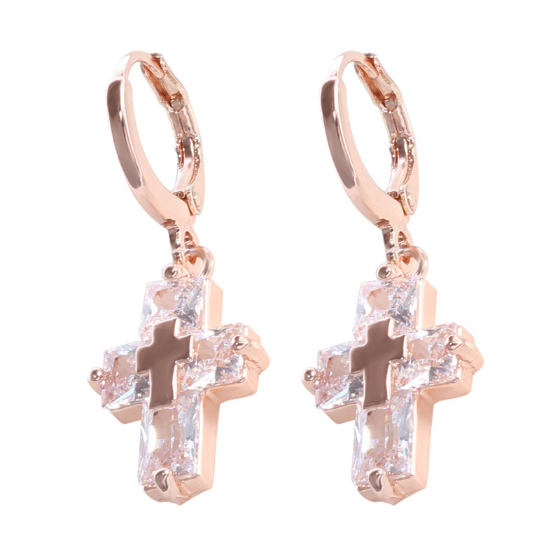 Rose Gold & Silver Plated Double Cross Shape Pendant Earrings Jewelry Big Clear Crystal Safety Pins Earrings For Women Gifts