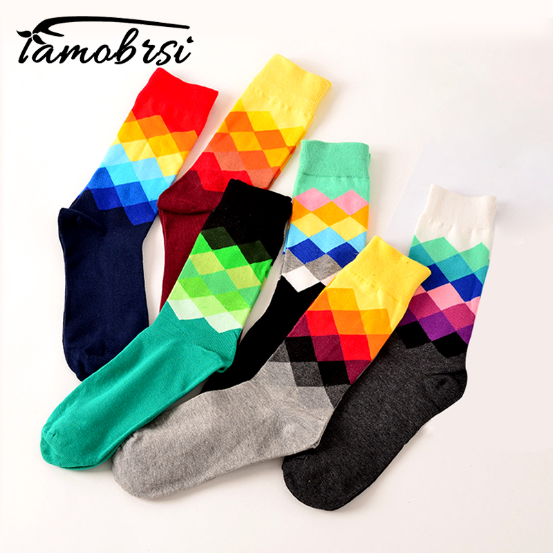 Lattice Funny Happy   Socks   British Style Sub-gradient Women's   Socks   Pure Cotton Longs Sokken Stripe Cotton Chaussette femme Meais