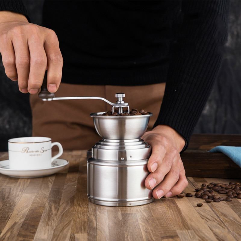 Portable Coffee Grinder Stainless Steel Adjustable Manual Ceramic Coffee Grinder Bean Miller Household Tools Outdoor Lo1241027