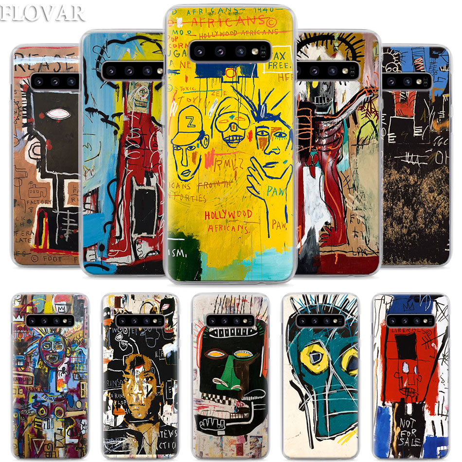 Jean Michel Basquiat <font><b>Art</b></font> Graffiti Phone <font><b>Case</b></font> for <font><b>Samsung</b></font> <font><b>Galaxy</b></font> S10e S10 Plus S7 S8 S9 Plus Note 8 9 M10 M20 M30 Hard <font><b>Case</b></font> Coque image