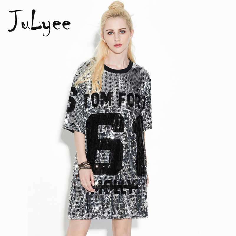 Julyee women hip hop t shirt long performance gold sequin top Three Quarter  sleeve Letter loose c83907e9a3a4
