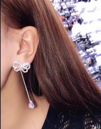 Bijoux de mariée livraison gratuite vente chaude 925 beau Papillon blanc Cristal perle Bijoux boucles d'oreilles