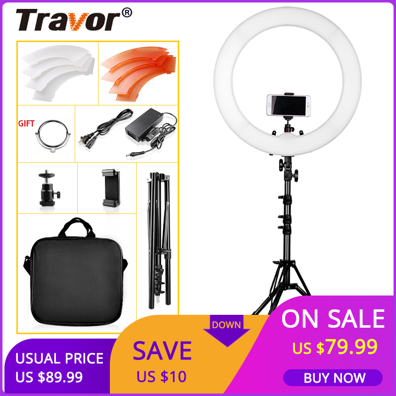 TRAVOR Ring Lamp 18 Inch With Tripod LED Ring Light Dimmable 5500K Circular Light Studio Photography ringlight Photo for MakeupTRAVOR Ring Lamp 18 Inch With Tripod LED Ring Light Dimmable 5500K Circular Light Studio Photography ringlight Photo for Makeup