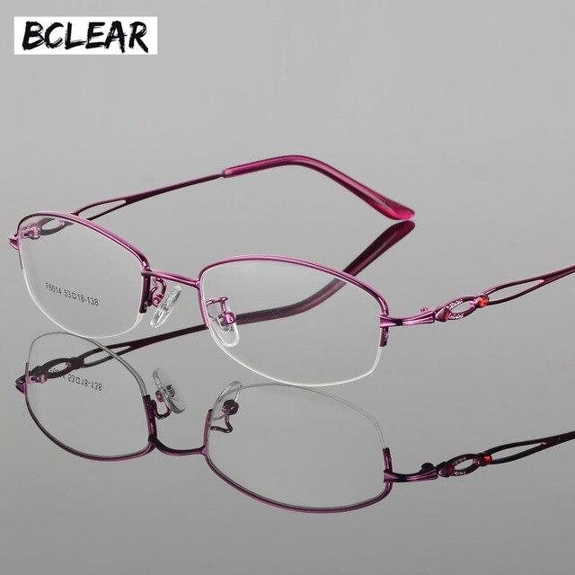b7784a7bb2c BCLEAR Fashion Optical Eyeglasses Frame Myopia Half Rim Metal Women  Spectacles Eye glasses Eyewear Prescription Eyewear Popular