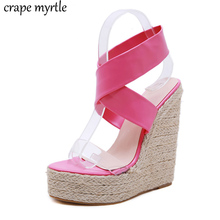 Summer women Platform Super high Heels shoes Ankle strap Wedge Sandals pink shoes ladies Office Dress Jelly Sandals YMA865 все цены