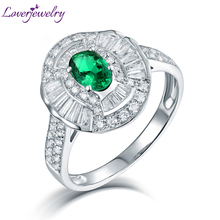Natural Baguette Diamond Real 14K White Gold Oval Emerald Rings Luxury Jewelry 0.5ct Good Quality Gemstone  Wife Christmas Gift