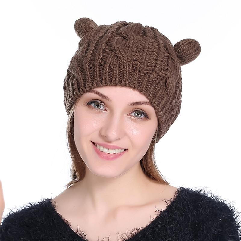 New Cute Fashion Autumn Winter Wool Cat Ears Hats Women Hemp Flowers Beret Outdoor Keep Warm Knitting knitted Hat female beanies stylish bowknot wool beret