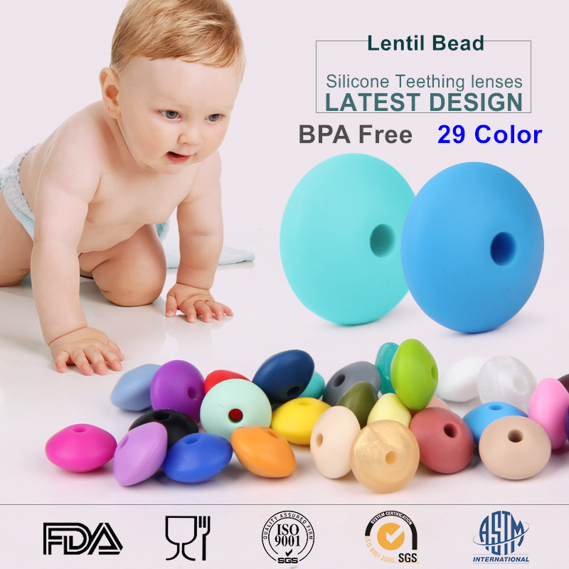 100pcs/lot BPA Free Loose Silicone Lentil Chewing Beads Food Grade DIY baby Nursing Teething Jewerly Craft Accessories Beads