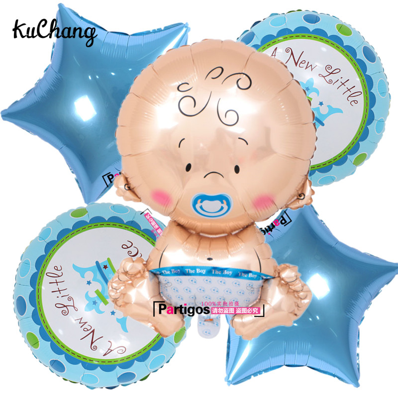 5pcs/lot Pacifier Baby Boys Girls Stars Foil Balloons Blue Pink Gender Reveal Newborns Baby Shower Party Decorations Supplies