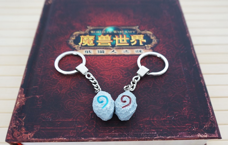 120 pcs/lot Hearthstone Keychain Game WOW Key rings Lovers Pendants 2 colors for gifts Wholesale free shipping by DHL