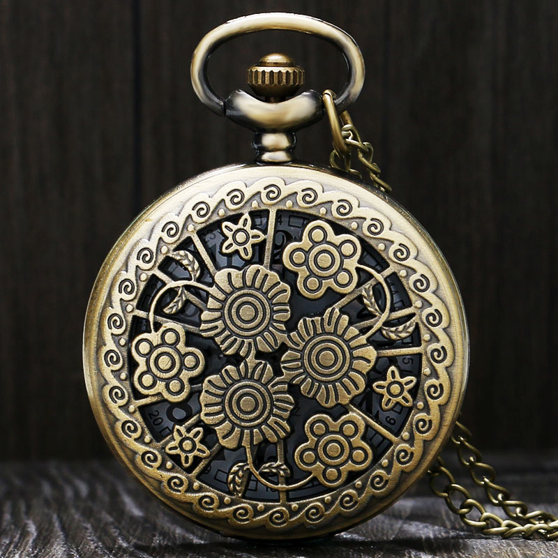 Vintage Bronze Hollow Beautiful Flowers Necklace Pendant Steampunk Pocket Watch With Chain For Men Women Fiancee Gifts
