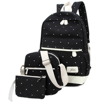 3pcs Set 2016 Newest Women Backpack High Quality Dot School Bags For Teenage Girls Travel Student