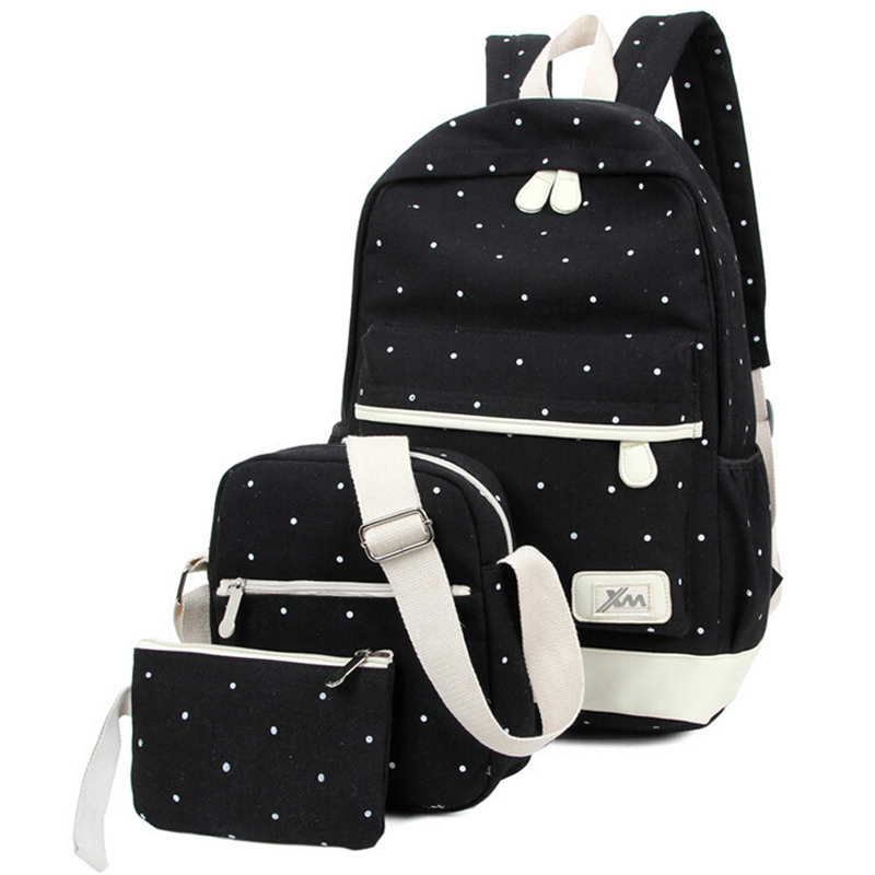 3pcs/set 2016 newest women backpack high quality dot school bags for teenage girls travel student bag set purse canvas backpacks backpack women school bags brand backpacks women high quality large capacity teenager backpacks for teenage girls student bags