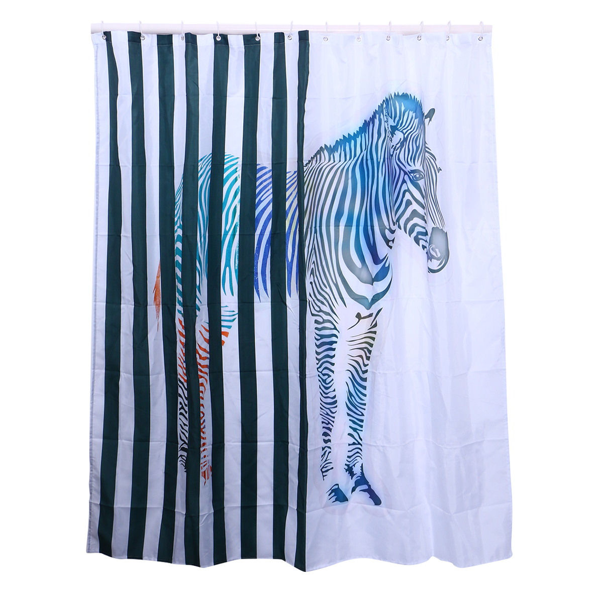 Waterproof Resistant Bathroom Drape Shower Curtain Zebra Printed Blinds Bath For Motels Home Campers