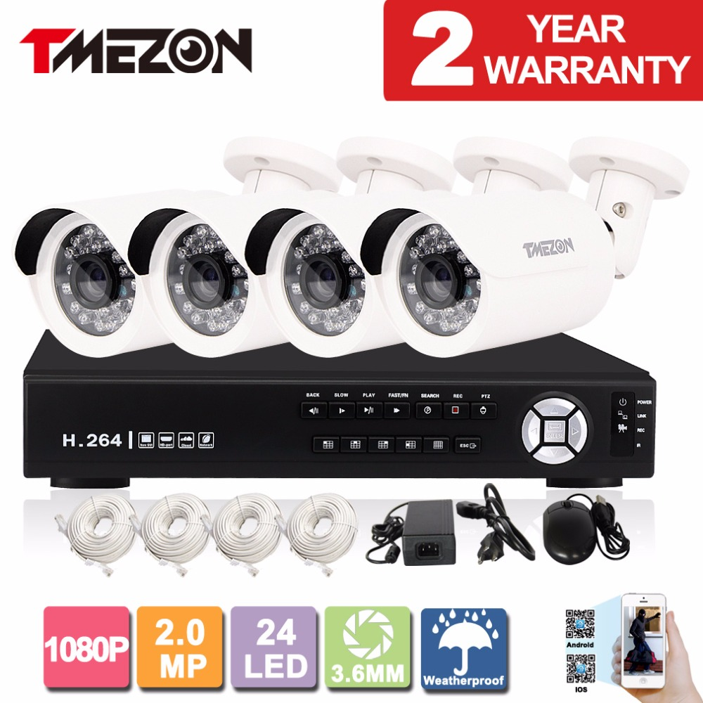 Tmezon IP POE 4CH NVR Security Surveillance System 4*1080P 2.0MP Bullet Camera Network IR CUT Night Vision ONVIF P2P 1TB 2TB Set 16ch poe nvr 1080p 1 5u onvif poe network 16poe port recording hdmi vga p2p pc