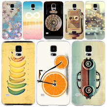 Phone Case Cover For Samsung Galaxy S5 i9600 Fashion Vintage Color Drawing Painted Hard Plastic Clear