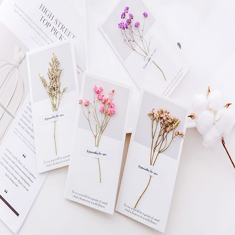 creative dried flower greeting card diy message card small