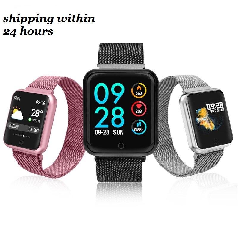 P68 Inteligente Relógio Das Mulheres Dos Homens de 2019 da Pressão Arterial de Oxigênio No Sangue Monitor De Freqüência Cardíaca Esportes Rastreador Smartwatch IP68 Conectar IOS Android