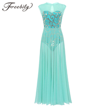 Women Floral Sequins Professional Ballet Dance Maxi Dress with Built In Leotard Adult Modern Contemporary Lyrical Dance Costumes