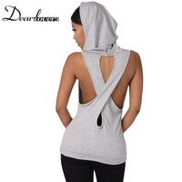 Dear Lover Grey Black Royal Blue Hooded Cross Back Fashion Sport Style Vest Top Summer Sleeveless