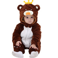 Baby Boy New Winter Cute Rompers Baby Girl Beautiful Cartoon Thicken Cotton Coat Long Romper Animal Dog/Bear Shape With Hat