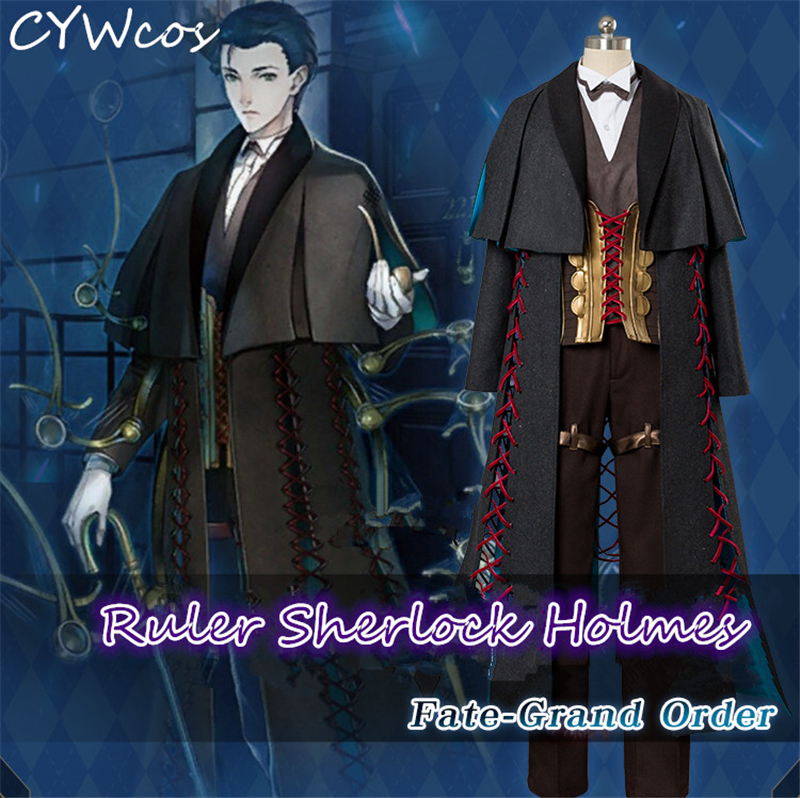 Fate/Grand Order Cosplay Ruler Sherlock Holmes Cosplay Costume Halloween Uniforms Suits Coat+Shirt+Pants+Vest+Shawl+Gloves