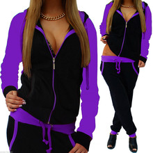 slim running set Women Gym Clothes Spandex Stripe Zipper Long Sleeve Pullove Sport Tops+Long Pants Set#g3