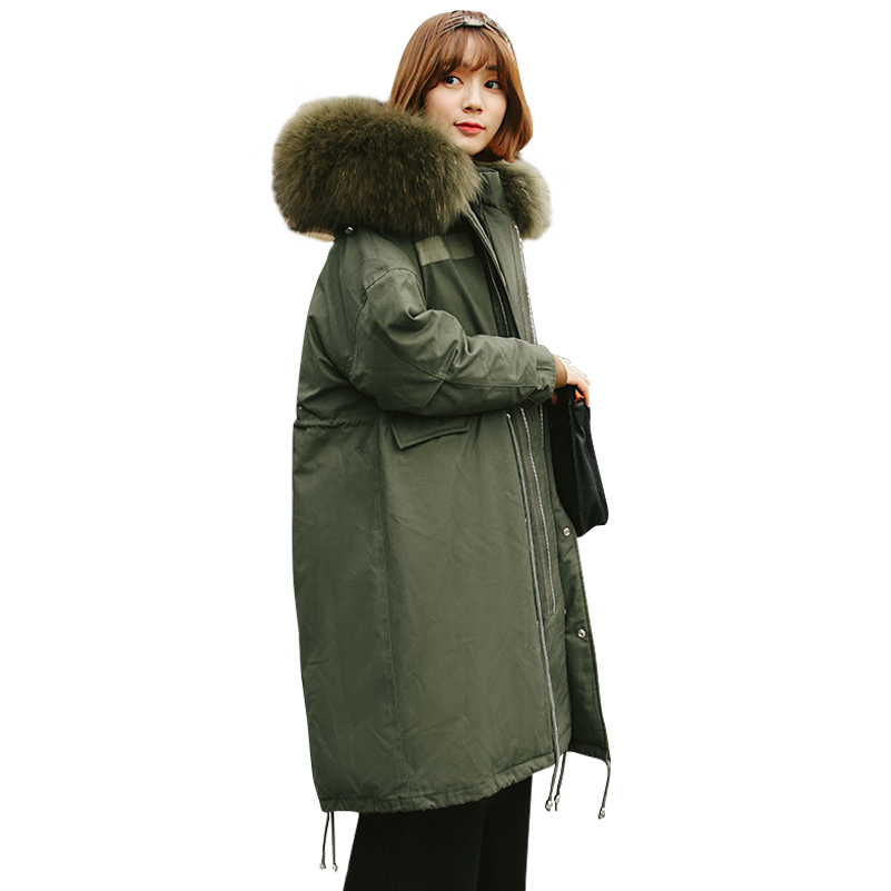 2017 New winter thicken loose   down     coats   large raccoon fur collar long women   down   jackets parkas plus size snow outerwear