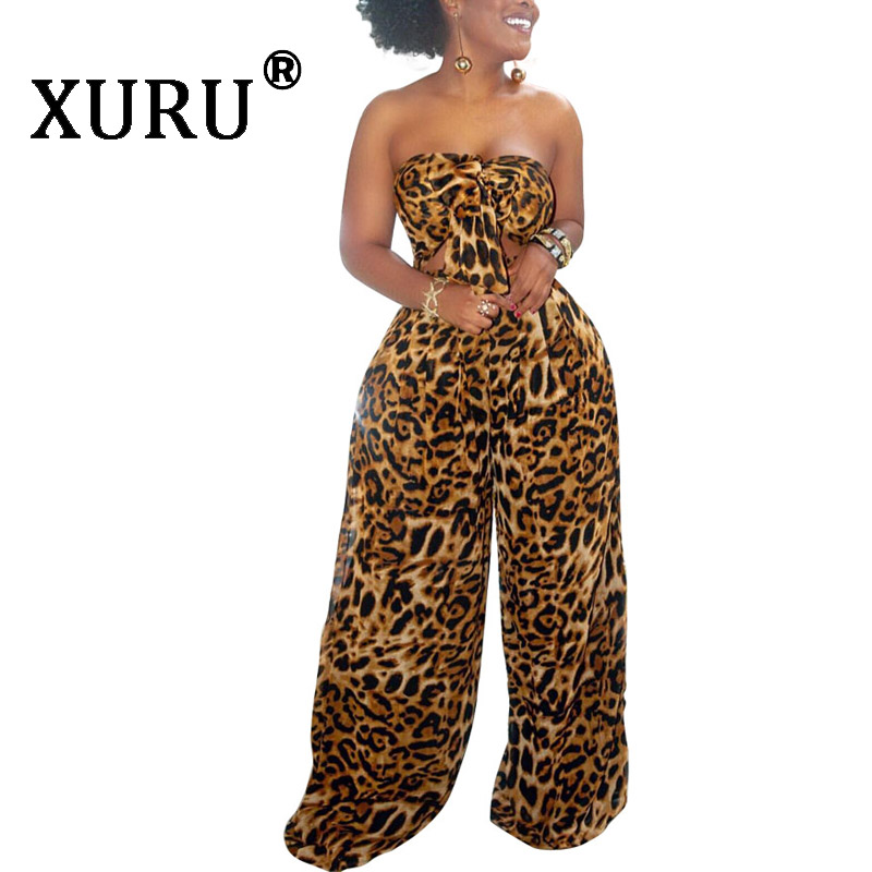 XURU summer new leopard jumpsuit fashion womens sexy two-piece printed wide-leg pants suit