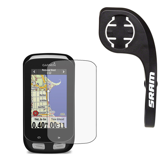 SRAM QuickView Computer Handlebar Mount+LCD Screen Protector Film for Garmin GPS Edge 1000 31.8mm for Road Bike Cycling Outdoor