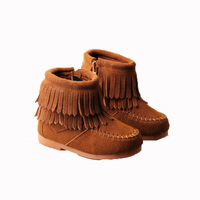 Warm Children Tassel Short Boots Winter Snow Shoes For Girls Thickenging Genunine Leather Cotton Boots Baby