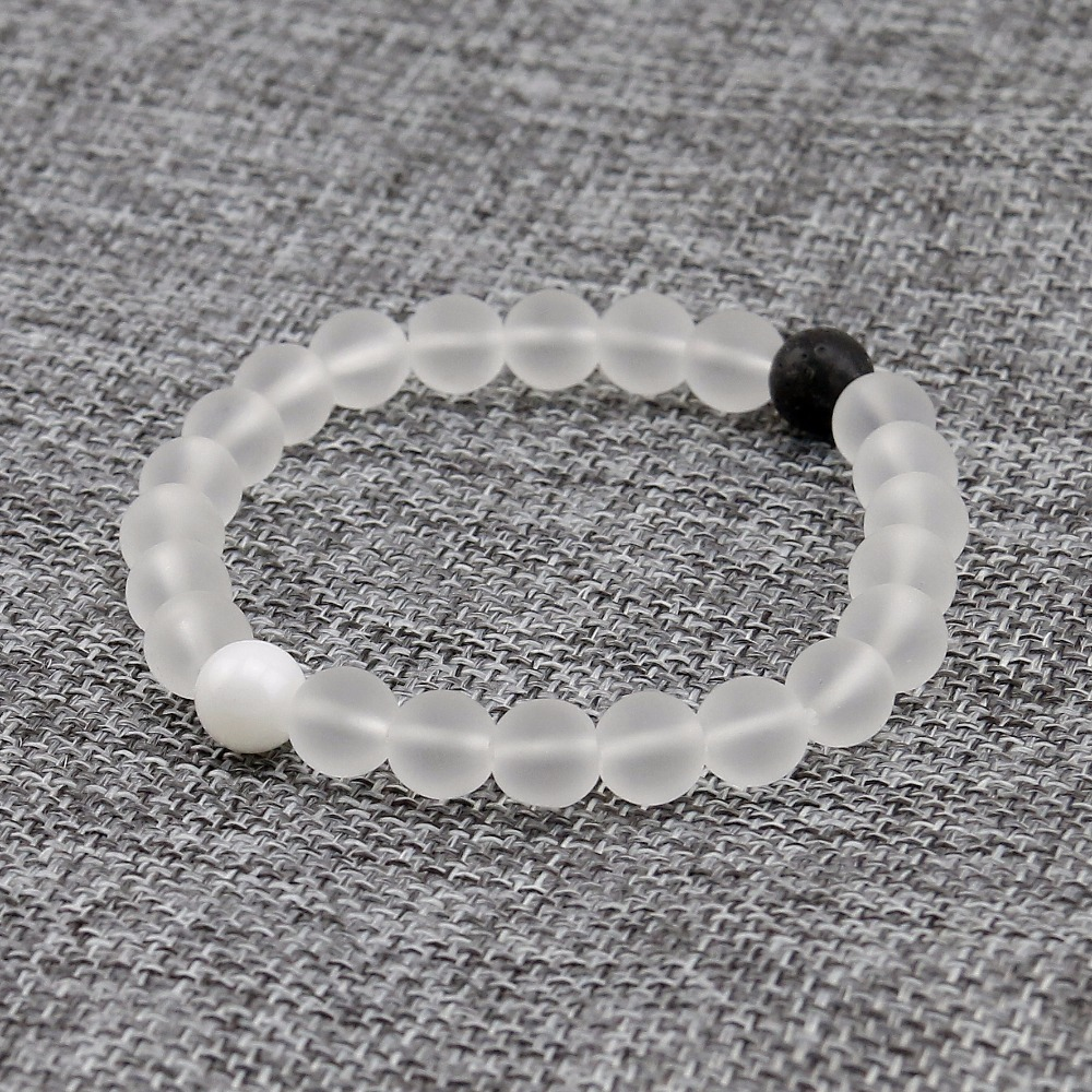 Matte White Crystal Elastic 8mm Natural Stone Bracelet 2