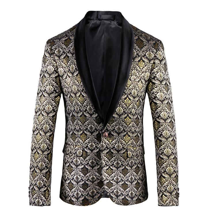 Gold Floral Print Blazer Men 2018 Slim Fit Mens Blazers Casual Suit Jacket 4XL 5XL Men's Vintage Printed Blazer