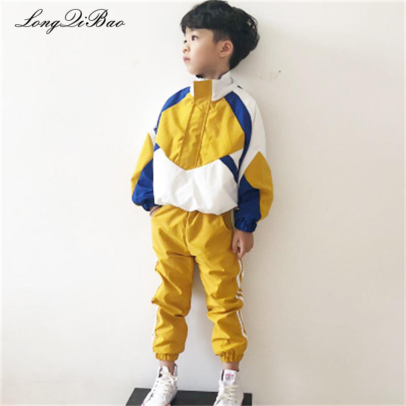 Baby boy set 2018 autumn new net red tide boy girl clothing sports casual stitching set