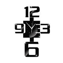 Sofa Fashion background living room decoration 3D wall clock mirror wall stickers digital logo craft quartz wall clock