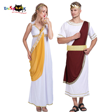 ยุคกลางผู้หญิงภาษากรีกเทพธิดาชุดคอสเพลย์โรมัน Caesar Knight Robe ผู้ชายฮาโลวีนเครื่องแต่งกายผู้ใหญ่ Carnival คู่ชุด
