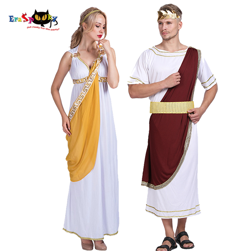 Medieval Women Greek Goddess Dress Cosplay Roman Caesar Knight Robe Men Halloween Costume Adult Carnival Couple Matching Outfit
