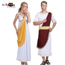 Średniowieczny kobiety grecka bogini sukienka Cosplay cesarza rzymskiego rycerz szata mężczyzn Halloween kostium dla dorosłych karnawał para dopasowane Outfit