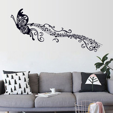 PVC Removable Sticker Butterfly Musical Note Wall Decoration Living Bedroom  Waterproof Wallpaper Home Art LXY9