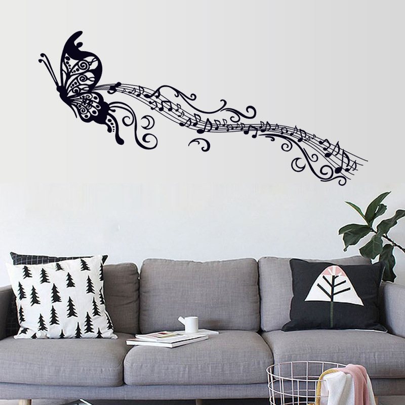 pvc removable sticker butterfly musical note wall decoration living bedroom waterproof wallpaper home art ls - Music Wall Decor