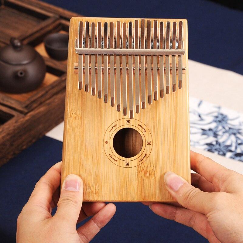 17 clave Kalimba africana de caoba maciza pulgar dedo Piano Sanza 17 teclas de madera maciza Kalimba Mbira pulgar