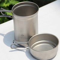 Keith Kitchen Cooking Pots Titanium Pan Titanium Cookware Set Cauldron & Frying Pan 400ml+1.2L For Camping Hiking Hunting KP6013