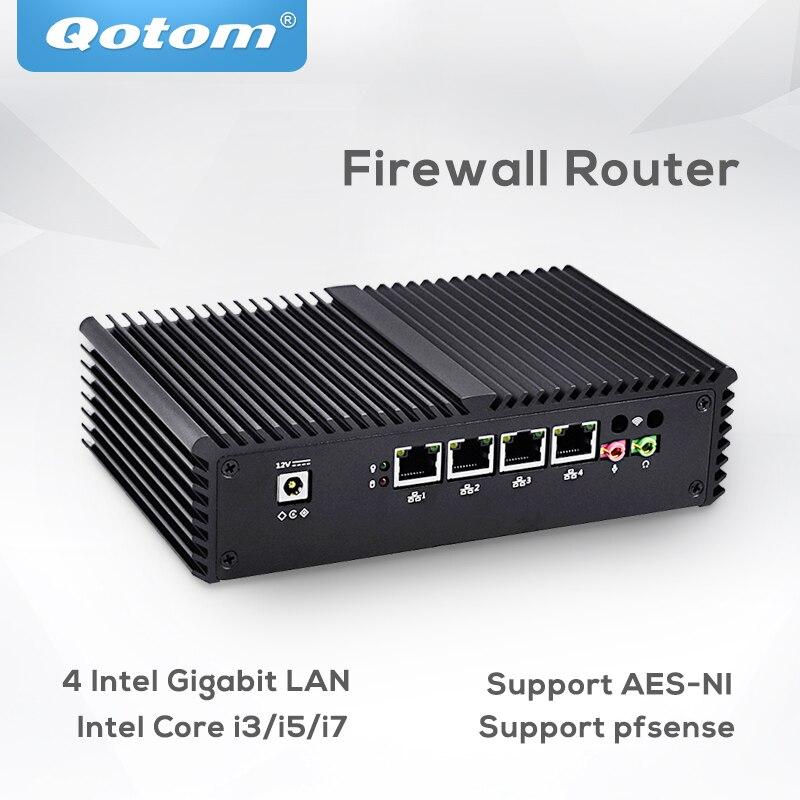 Pfsense Qotom Мини ПК 4 гигабитный микро ПК Core i3 i5 i7 безвентиляторный мини ПК компьютер AES NI pfsense брандмауэр маршрутизатор тонкий клиент