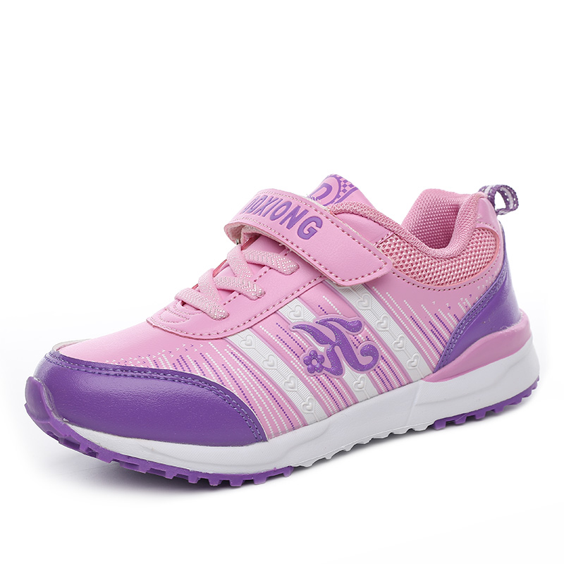 ФОТО 2016 Girls New Style Fashion Sneakers Kids Training  Sport Shoes Child Party Running Zapatos Kinder Leather Rubber Sole Bling