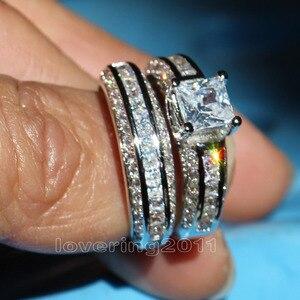 Image 3 - قطع حجر الأميرات النبيلة من شوكنغ 5A حجر الزركون 10KT الذهب الأبيض المملوء بالخطوبة مجموعة خواتم الزفاف Sz 5 11 هدية