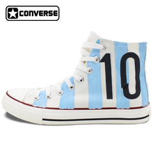 Hand Painted Converse All Star Shoes Design Argentina Football Number 10 White High Top Canvas Sneakers for Man Woman
